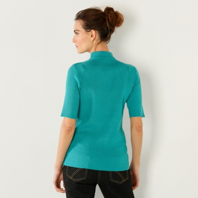 Pull col montant manches courtes Turquoise: Vue 2