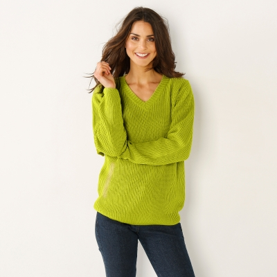 Pull col V maille anglaise Vert mousse: Vue 2