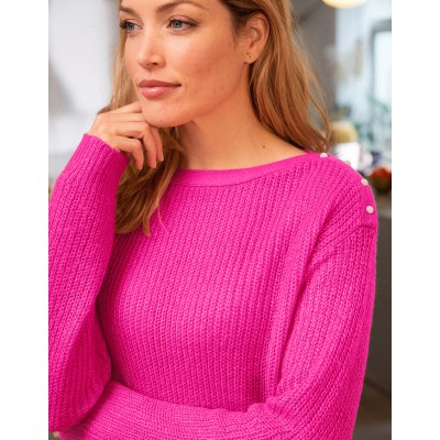 Pull col rond maille anglaise toucher mohair Rose: Vue 2