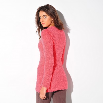 Pull col rond maille douceur Corail: Vue 2
