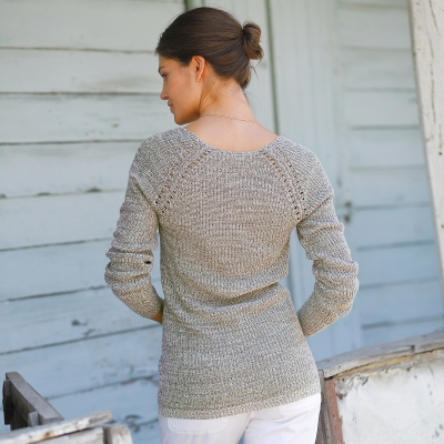 Pull maille anglaise chinée col V Taupe chiné: Vue 2