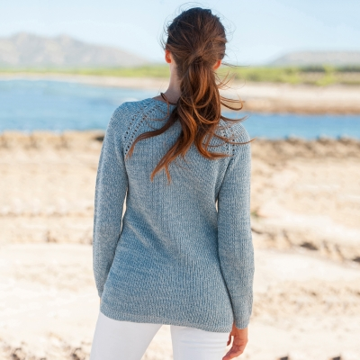 Pull maille anglaise chinée col V Bleu chiné: Vue 2