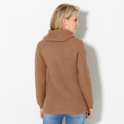 Pull col boule maille anglaise Noisette: Vue 2