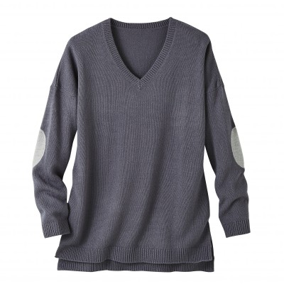 Pull col V uni Anthracite / gris chiné: Vue 2