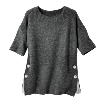 Pull poncho boutonné Anthracite: Vue 2