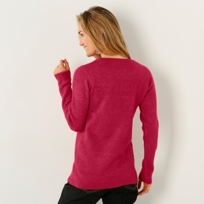 Pull boutonné col rond Framboise: Vue 2