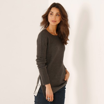 Pull boutonné col rond Anthracite: Vue 2