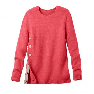 Pull boutonné col rond Rose: Vue 2