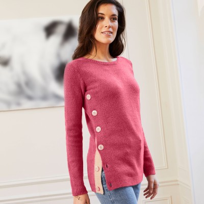 Pull boutonné col rond Rose fard: Vue 2