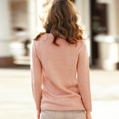 Pull chiné col rond 20% laine Rose chiné: Vue 2
