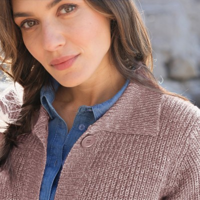 Gilet boutonné maille anglaise Taupe chiné: Vue 2