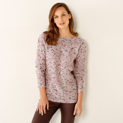 Pull chiné col rond Beige chiné: Vue 2