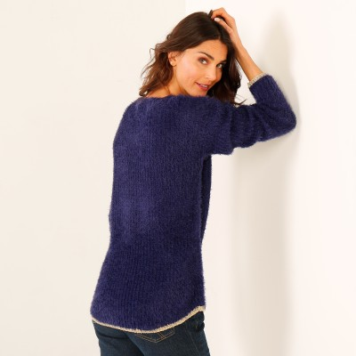 Pull col rond maille perlée Marine: Vue 2