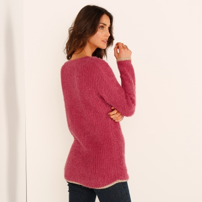 Pull col rond maille perlée Paprika: Vue 2