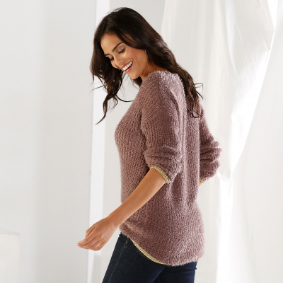 Pull col rond maille perlée Taupe: Vue 2