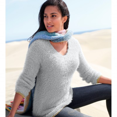 Pull col V maille perlée Gris perle: Vue 2