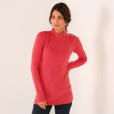 Pull col montant Rose: Vue 2