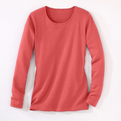 Tee-shirt col rond manches longues Rose corail: Vue 2