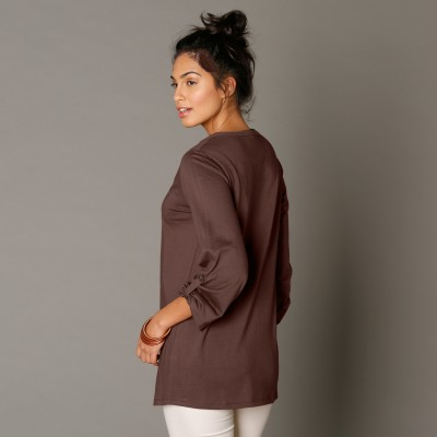 Tee-shirt manches longues brodé Taupe: Vue 2
