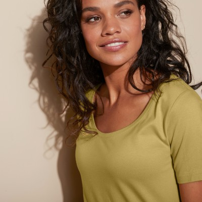 Tee-shirt col rond uni Olive: Vue 2