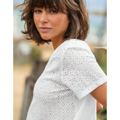 Tee-shirt col V broderie anglaise Blanc: Vue 2