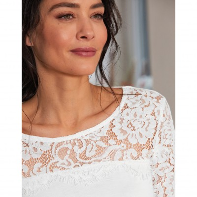 Tee-shirt col rond manches longues dentelle jersey Blanc: Vue 2