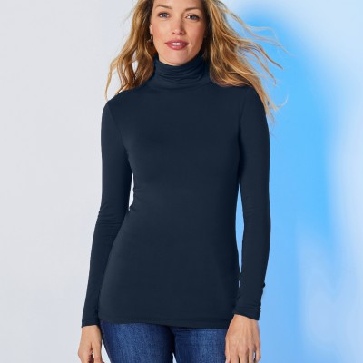 Sous-pull col montant maille stretch Marine: Vue 2