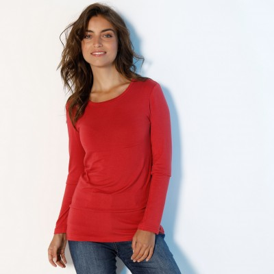 Tee-shirt col rond viscose stretch Rouge grisé: Vue 2