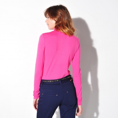 Sous-pull stretch viscose Rose fuchsia: Vue 2