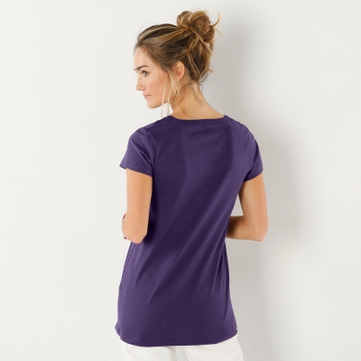 Tee-shirt col tunisien broderie anglaise Violet: Vue 2