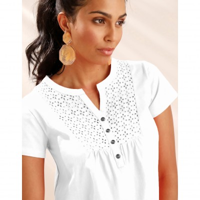 Tee-shirt col tunisien broderie anglaise Blanc: Vue 2