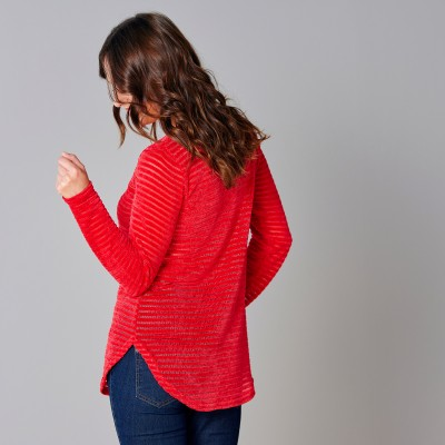 Sweat maille velours effet rayé Rouge: Vue 2