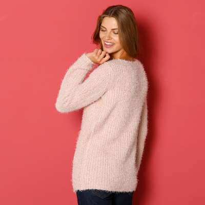 Pull maille moelleuse Rose grisé: Vue 2
