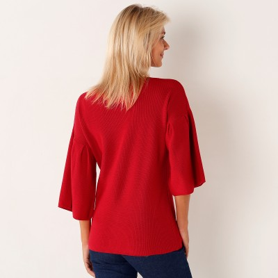 Pull col rond manches fantaisie Rouge: Vue 2