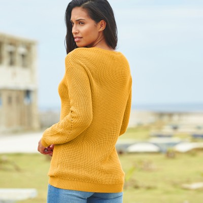 Pull col V maille fantaisie Ocre: Vue 2