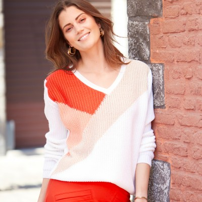 Pull patchwork maille anglaise Écru / rouge: Vue 2