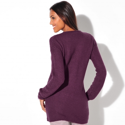 Pull manches longues maille fantaisie Prune: Vue 2