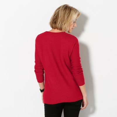 Pull manches longues maille fantaisie Rouge: Vue 2