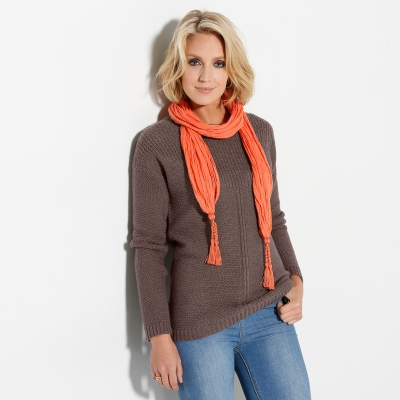 Pull manches longues maille fantaisie Taupe: Vue 2