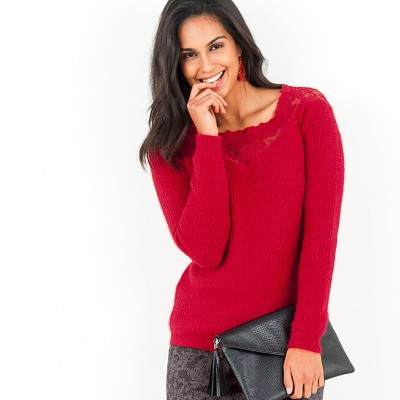 Pull tulle brodé manches longues Rouge: Vue 2