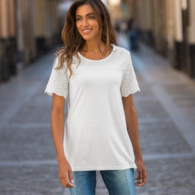 Tee-shirt broderie anglaise Blanc: Vue 2