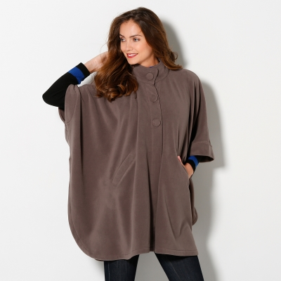 Poncho polaire Taupe: Vue 2