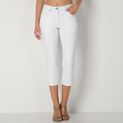 Pantacourt amincissant denim extensible Blanc: Vue 2