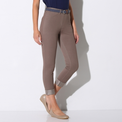 Pantacourt maille jean extensible Taupe: Vue 2