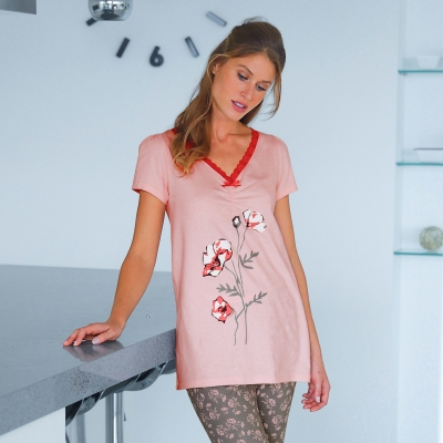T-shirt pyjama jersey manches courtes Rose: Vue 2