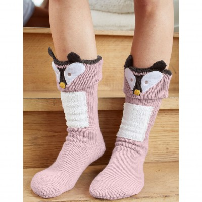 Chaussons-chaussettes cocooning - renard Taupe: Vue 2
