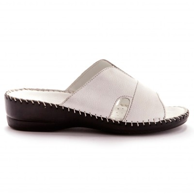 Mules extra larges cuir - blanc Blanc: Vue 2