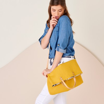 Sac shopping transformable en besace, fabrication éco-responsable Curry: Vue 2