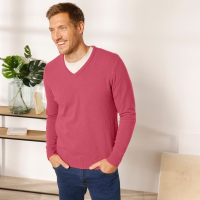 Pull col V 80% laine Pourpre: Vue 2