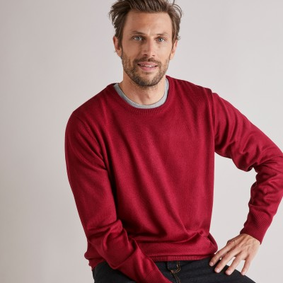 Pull uni col rond Rouge carmin: Vue 2